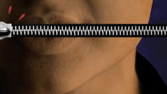 A woman and a pulled zipper.