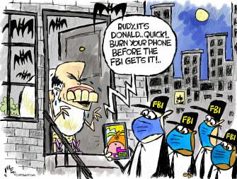 Political Cartoon U.S. giuliani trump fbi raid
