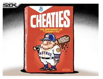 Editorial Cartoon U.S. Astros Baseball Wheaties cheating