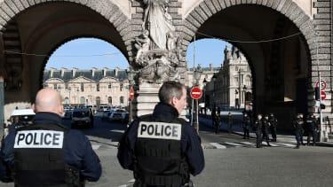 Police patrol near the Louvre museum in Paris