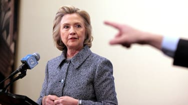 Hillary Clinton at a press conference about her emails.