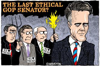 Political Cartoon U.S. Mitt Romney march GOP senators Trump