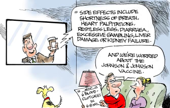 Editorial Cartoon U.S. johnson and johnson covid vaccine