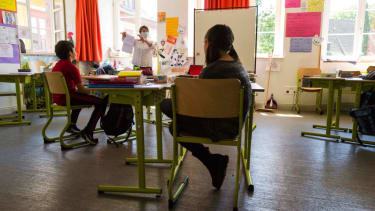 A school reopens in France.