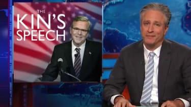 Jon Stewart dissects Jeb Bush's flip-flops on the Iraq invasion