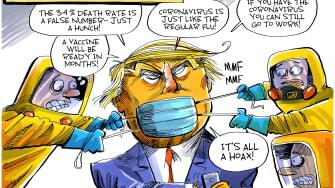 Political Cartoon U.S. Trump COVID-19 FOX News viral spread misinformation
