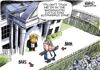 Political Cartoon U.S. Barr Trump DOJ