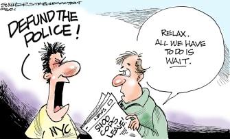 Editorial Cartoon U.S. defund police