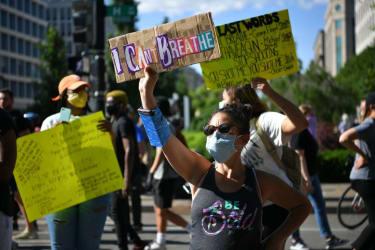 Protesters in Lafayette Square.