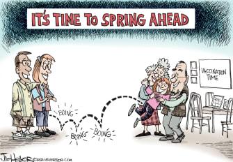 Editorial Cartoon U.S. covid vaccine spring