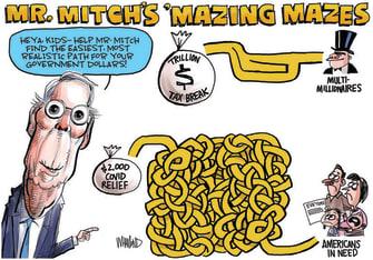 Political Cartoon U.S. McConnell Congress COVID relief