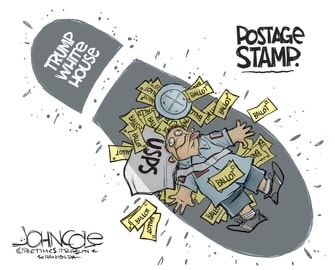 Political Cartoon U.S. Trump Destroys Post Office USPS Mail-in Ballots Absentee