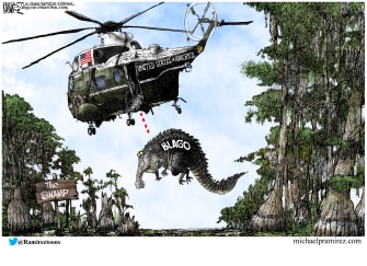 Political Cartoon U.S. Trump Rod Blagojevich pardon swamp alligator helicopter - Michael Ramirez
