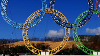 The Olympic rings stand outside of Sochi International Airport in Alder, Russia. The Games begin Feb. 6.