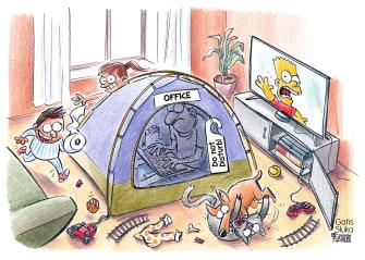 Editorial Cartoon U.S. stay at home no escape children run wild Bart Simpson work office