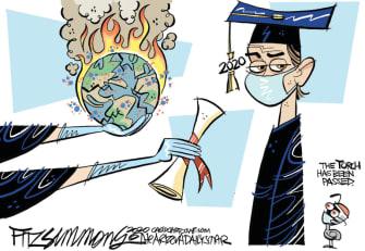 Editorial Cartoon U.S. graduates coronavirus climate change
