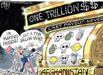 Political Cartoon U.S. Afghanistan War Slot Machine One Trillion