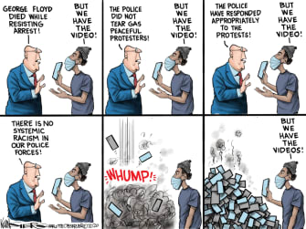 Editorial Cartoon U.S. police brutality George Floyd video