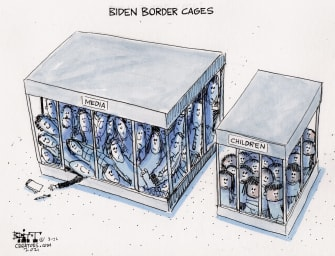 Political Cartoon U.S. biden border migrant children media