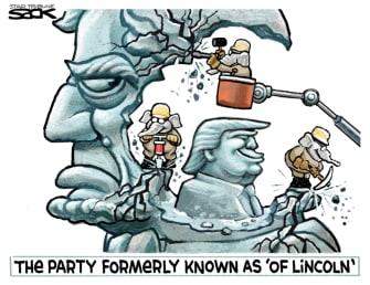 Political Cartoon U.S. Trump Lincoln GOP