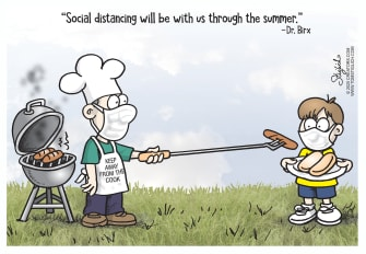 Political Cartoon U.S. Birx social distancing during summer cookout