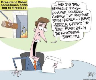 Political Cartoon U.S. biden mainstream media