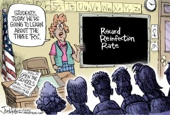Editorial Cartoon U.S. school coronavirus