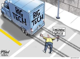 Editorial Cartoon U.S. big tech free speech conservative