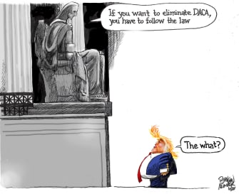 Political Cartoon U.S. Trump DACA supreme court law