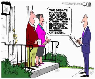 Political Cartoon U.S. Nevada debate poll Sanders centrists disgruntle