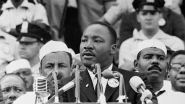 """""""I have a dream that my four little children will one day live in a nation where they will not be judged by the color of their skin but by the content of their character."""""""
