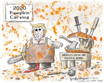 Political Cartoons U.S. Trump pumpkin carving