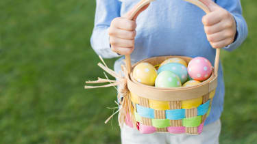 A basket containing Easter eggs.