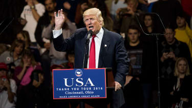 Donald Trump at his victory rally in Ohio