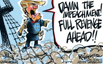 Political Cartoon U.S. Trump Republicans impeachment revenge ships