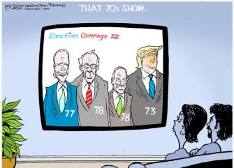 Political Cartoon U.S. That 70s Show Biden Trump Bloomberg Sanders age 2020 election