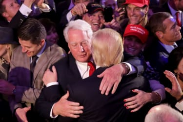 Republican president-elect Donald Trump (R) hugs his brother Robert Trump after delivering his acceptance speech at the New York Hilton Midtown in the early morning hours of November 9, 2016