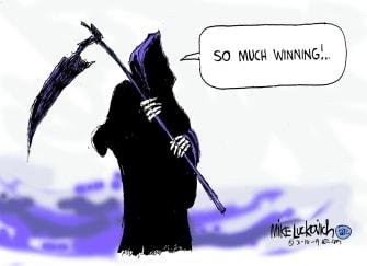 Political Cartoon U.S. Trump GOP Coronavirus winning reaper death