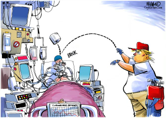 Political Cartoon U.S. Trump Puerto Rico crisis coronavirus