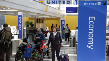 Passengers in the United terminal at O'Hare Airport.