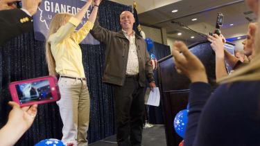 Greg Gianforte celebrates in Montana