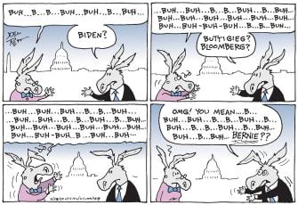 Political Cartoon U.S.dems candidate Bloomberg Biden Bernie