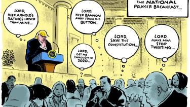 Political Cartoon U.S. Donald Trump National Prayer Breakfast