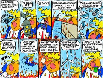 Political Cartoon U.S. Trump wildfires science