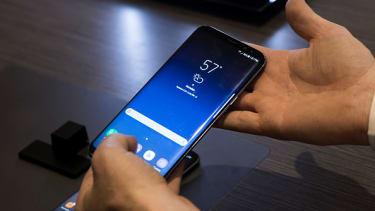 A Samsung Galaxy S8 on display in New York City.