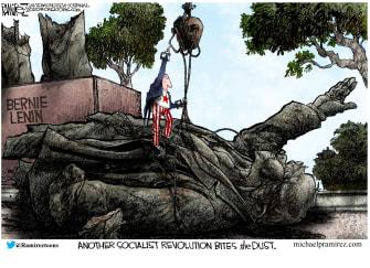 Political Cartoon U.S. Bernie revolution fails socialism falls 2020 election