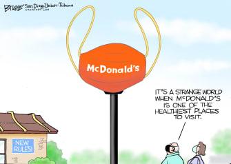Editorial Cartoon U.S. mcdonalds coronavirus mask