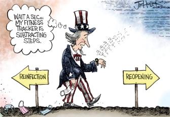 Editorial Cartoon U.S. coronavirus reopening surge