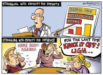 Editorial Cartoon U.S. Healthcare Coronavirus patience hospitals childcare quarantine