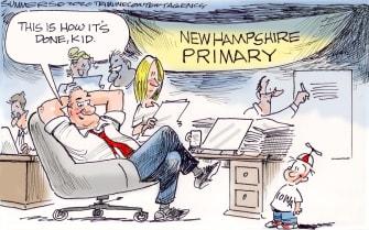 Political Cartoon U.S. Democrats New Hampshire Iowa caucus primaries 2020 election